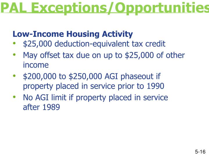PAL Exceptions/Opportunities