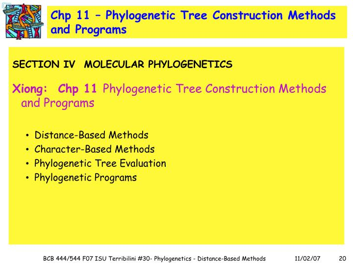 Chp 11 – Phylogenetic Tree Construction Methods and Programs