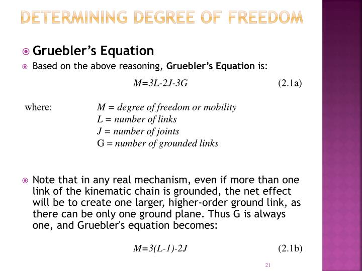 Determining Degree of Freedom