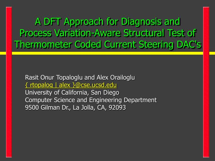 A DFT Approach for Diagnosis and
