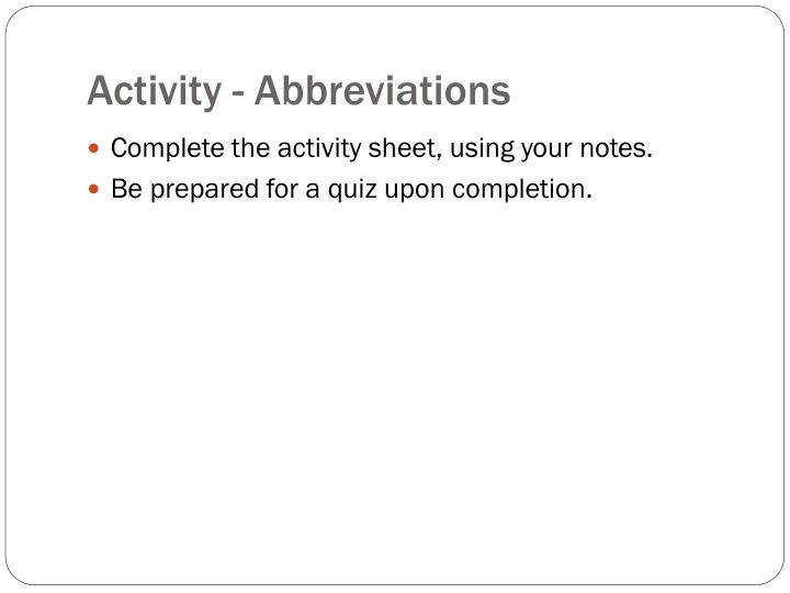 Activity - Abbreviations