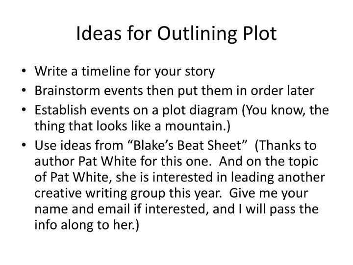 Ideas for Outlining Plot