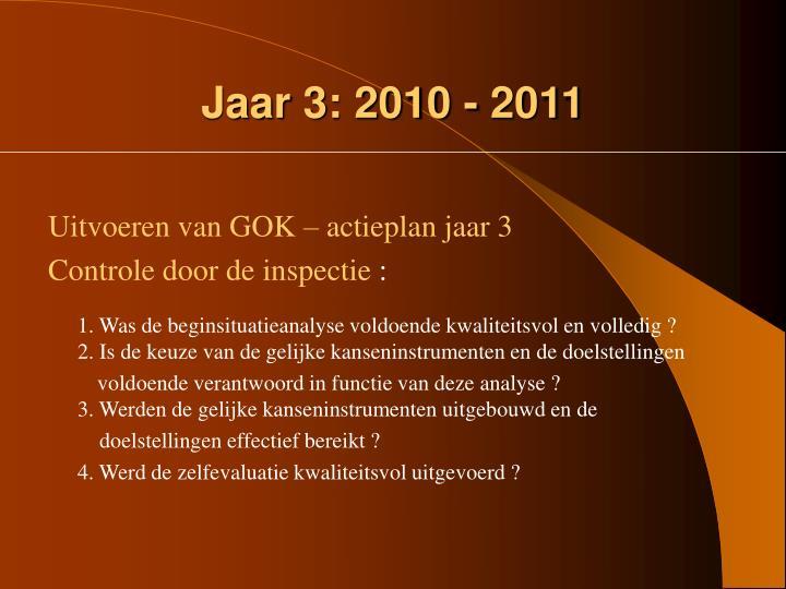 Jaar 3: 2010 - 2011