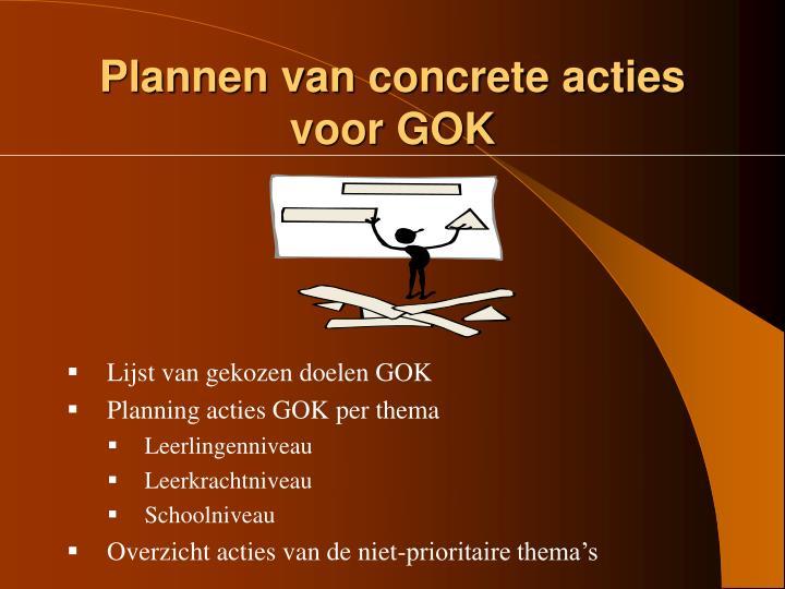 Plannen van concrete acties voor GOK