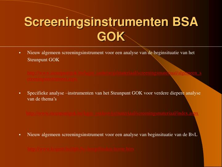 Screeningsinstrumenten BSA GOK