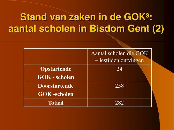 Stand van zaken in de GOK³: aantal scholen in Bisdom Gent (2)