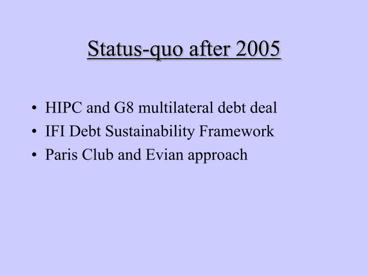 Status quo after 2005