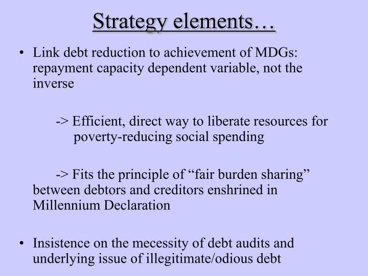 Strategy elements…