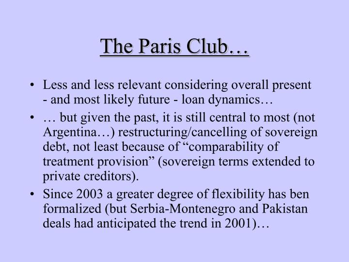 The Paris Club…