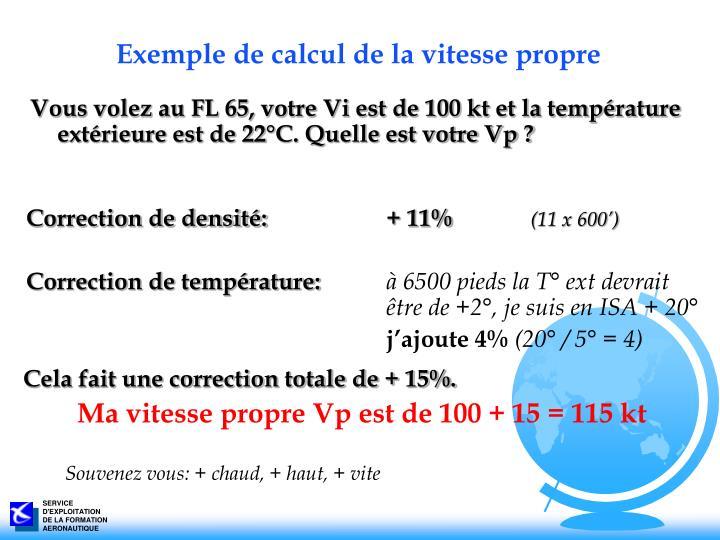 Exemple de calcul de la vitesse propre