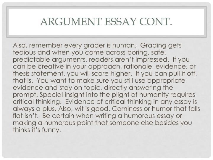 Argument Essay Cont.