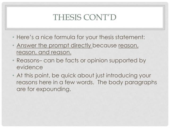 Thesis Cont'd