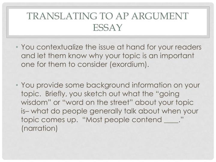 Translating to AP Argument Essay