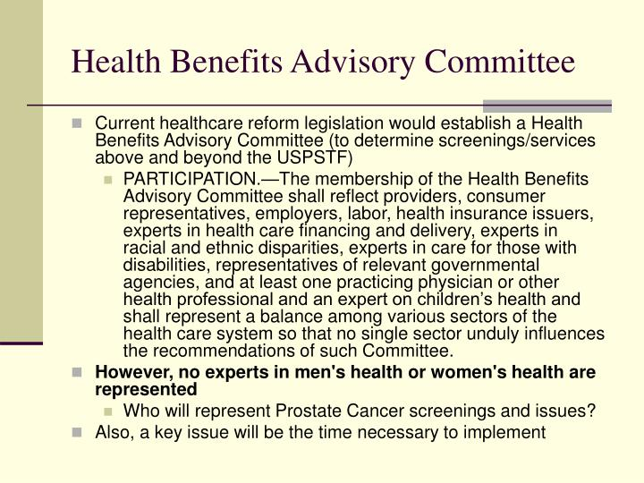 Health Benefits Advisory Committee