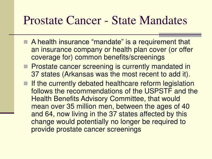 Prostate Cancer - State Mandates
