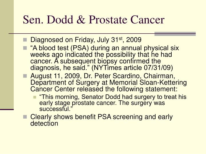 Sen. Dodd & Prostate Cancer