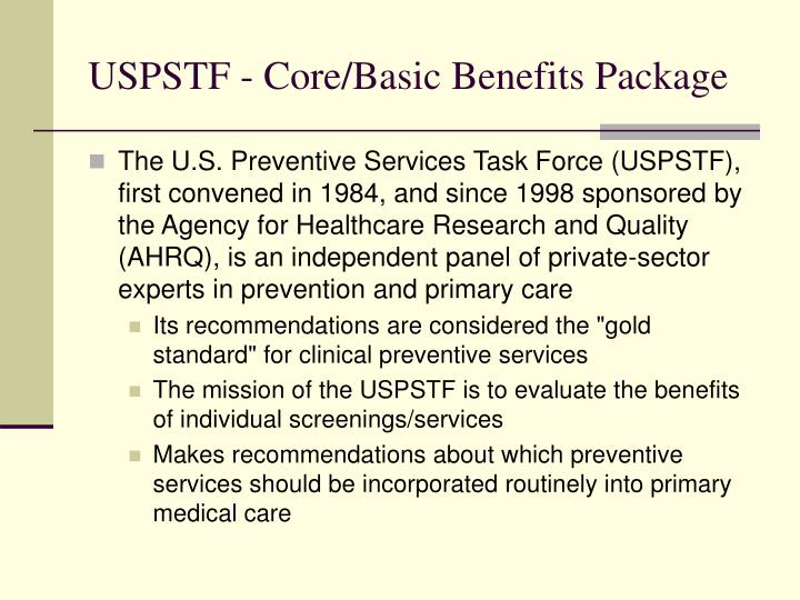 USPSTF - Core/Basic Benefits Package