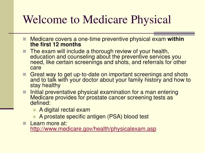 Welcome to Medicare Physical