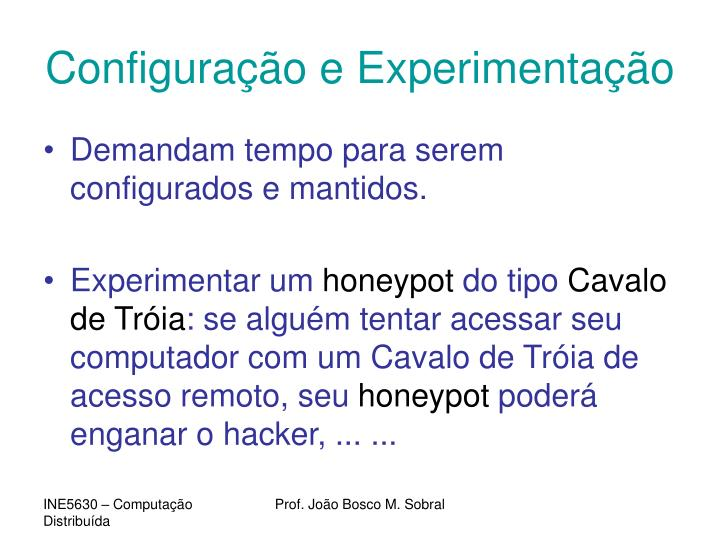 Configuração e Experimentação
