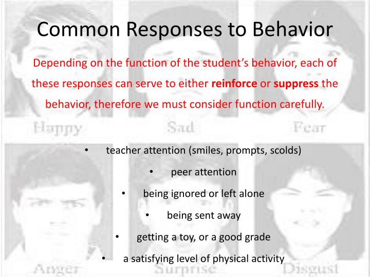Common Responses to Behavior