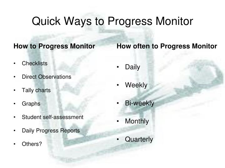 Quick Ways to Progress Monitor