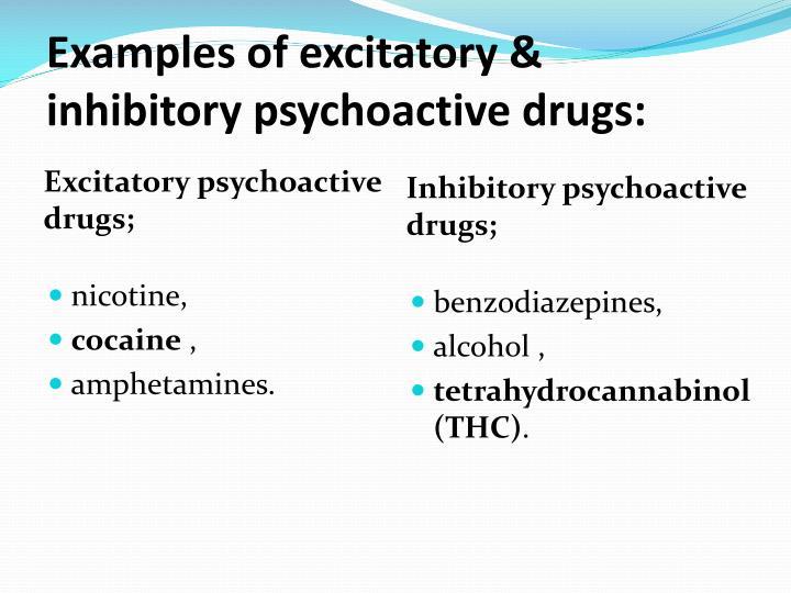 Examples of excitatory &  inhibitory psychoactive drugs: