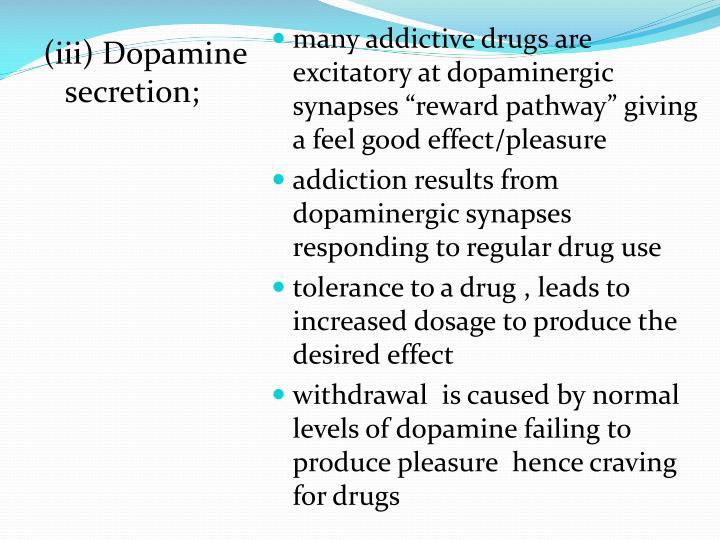 (iii) Dopamine secretion;