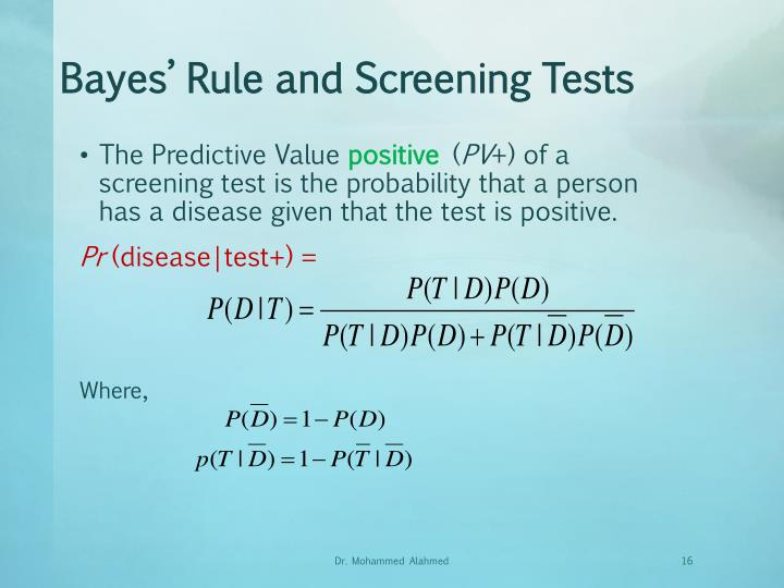 Bayes' Rule and Screening Tests