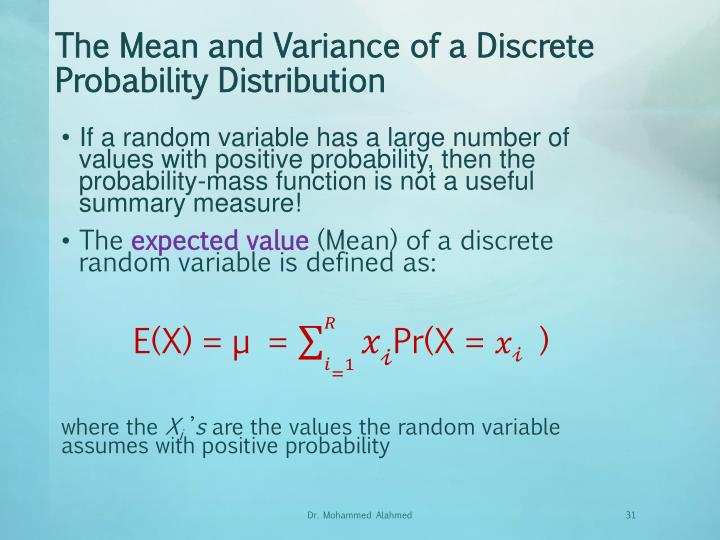 The Mean and Variance of a Discrete