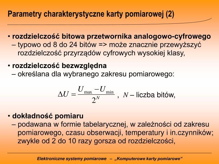 Parametry charakterystyczne karty pomiarowej (2)