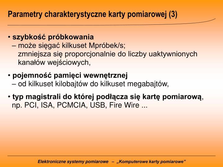 Parametry charakterystyczne karty pomiarowej (3)