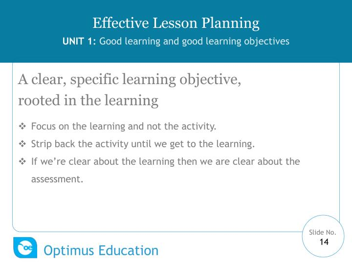 A clear, specific learning objective,