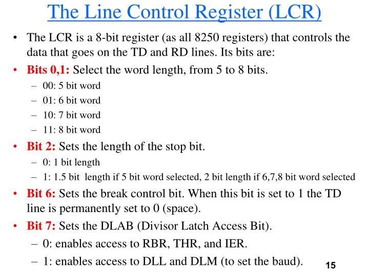 The Line Control Register (LCR)