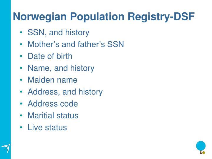 Norwegian Population Registry-DSF