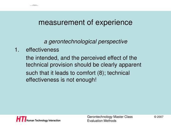measurement of experience
