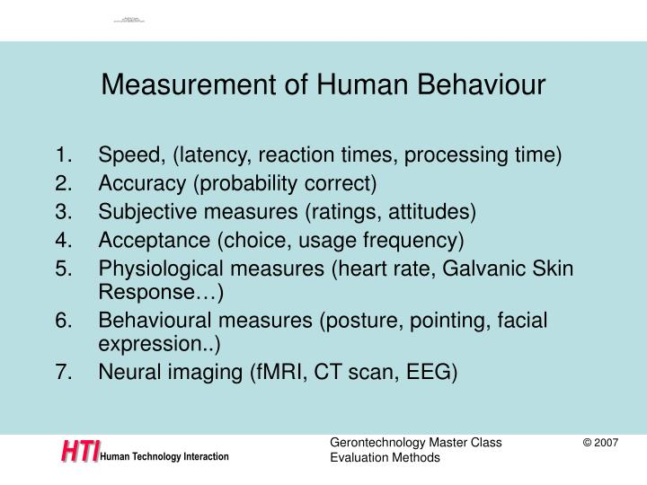 Measurement of Human Behaviour