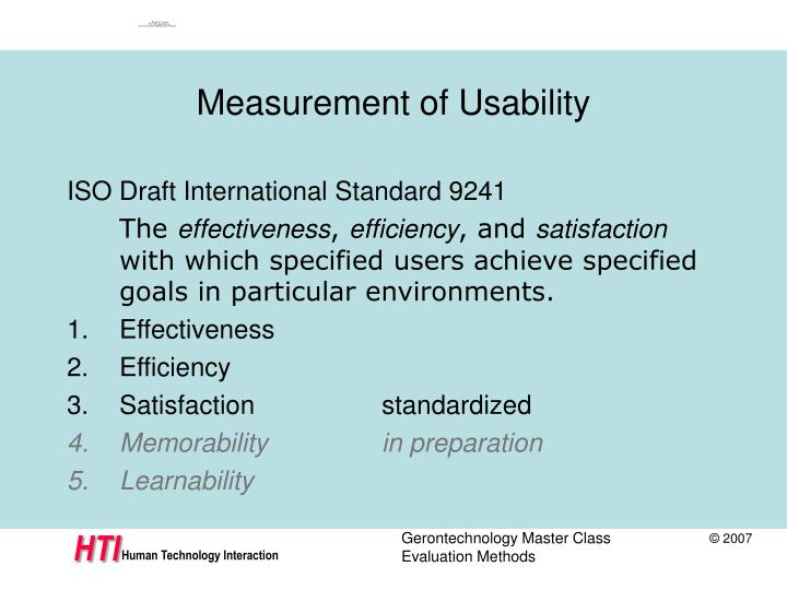 Measurement of Usability