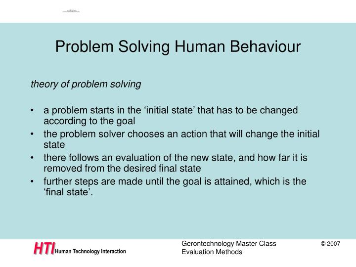 Problem Solving Human Behaviour