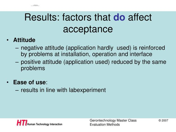 Results: factors that