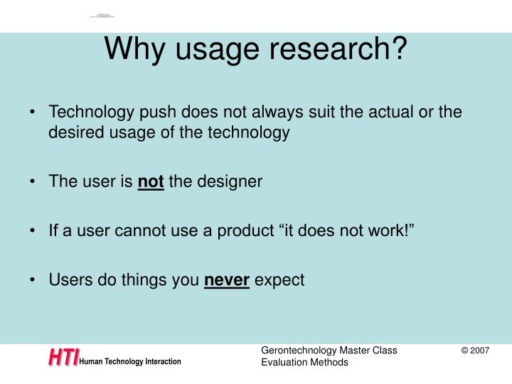 Why usage research?