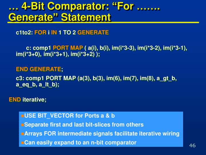 "… 4-Bit Comparator: ""For ……. Generate"" Statement"