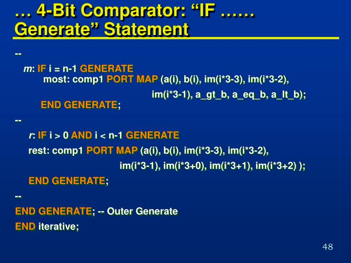 "… 4-Bit Comparator: ""IF …… Generate"" Statement"