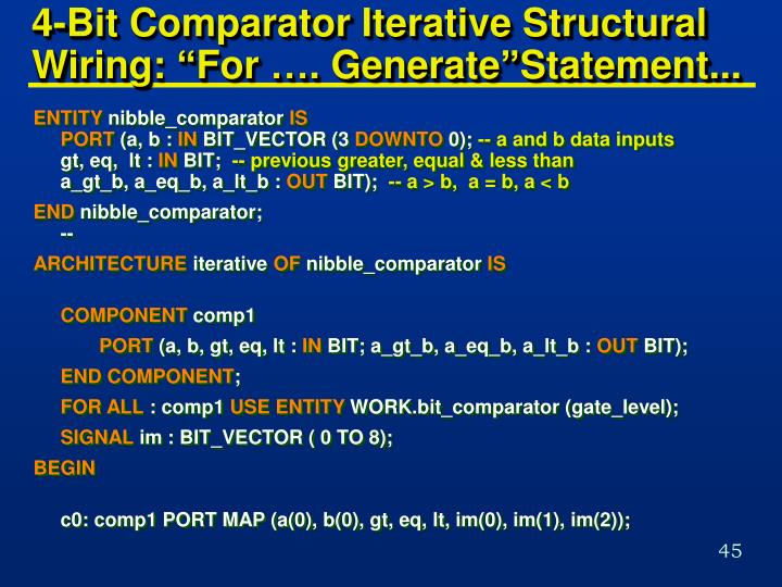 "4-Bit Comparator Iterative Structural Wiring: ""For …. Generate""Statement..."