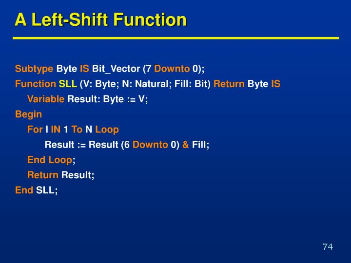A Left-Shift Function