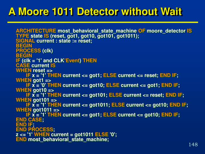 A Moore 1011 Detector without Wait