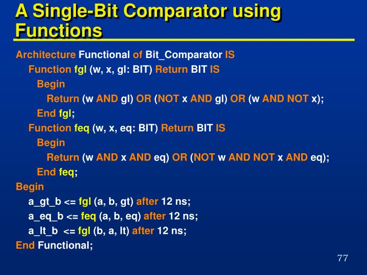 A Single-Bit Comparator using Functions