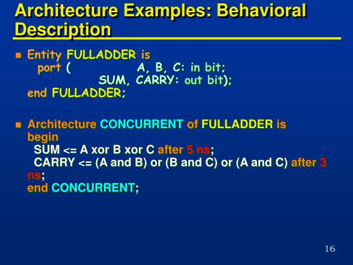 Architecture Examples: Behavioral Description