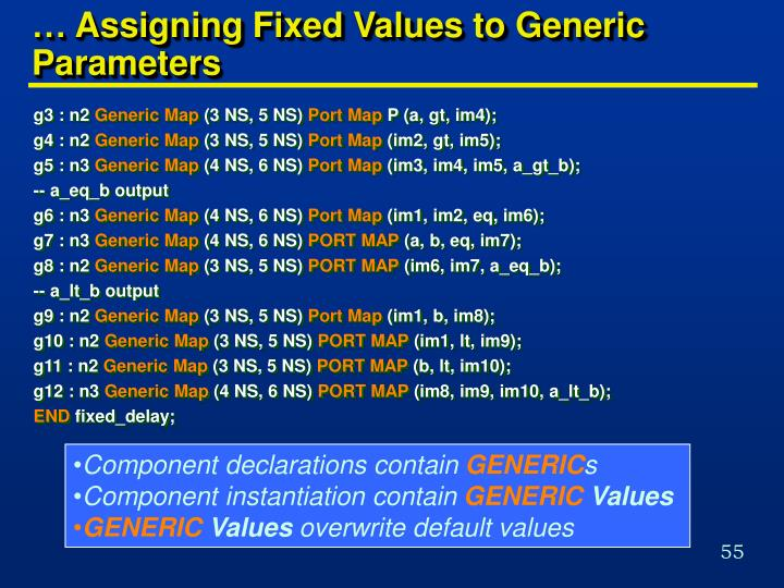 … Assigning Fixed Values to Generic Parameters