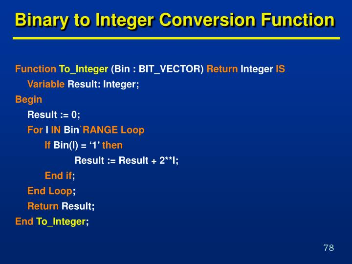 Binary to Integer Conversion Function