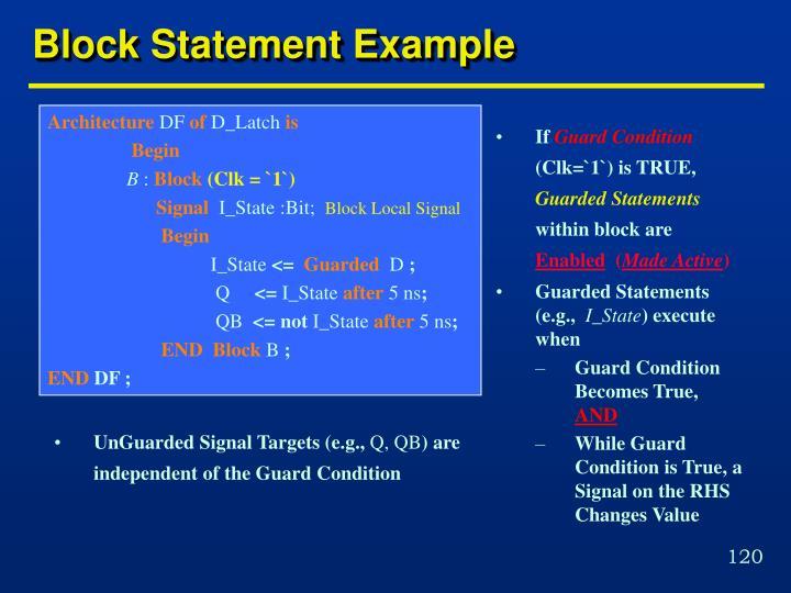 Block Statement Example